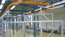Power& Free System to move mounting trolleys for cable harnesses, automatically